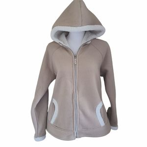 telluride faux sherpa hooded cozy tan jacket